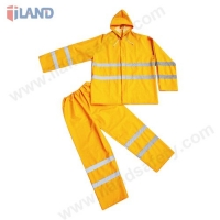 2-Piece Hooded Rainsuit with Reflective Tapes